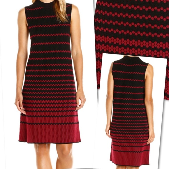NIC+ZOE Dresses & Skirts - NIC + ZOE RED BLACK STRIPED TEXTURED SHEATH DRESS
